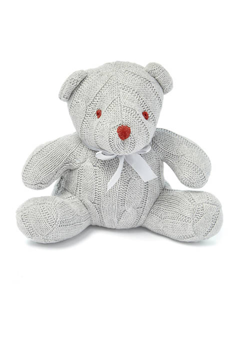 Baby Gray Cable Knit Snuggle Bear