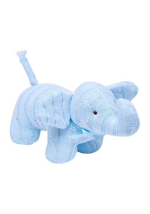 Baby Boys Blue Cable Knit Snuggle Elephant