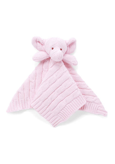 Baby Girls Pink Knit Elephant Security Blanket