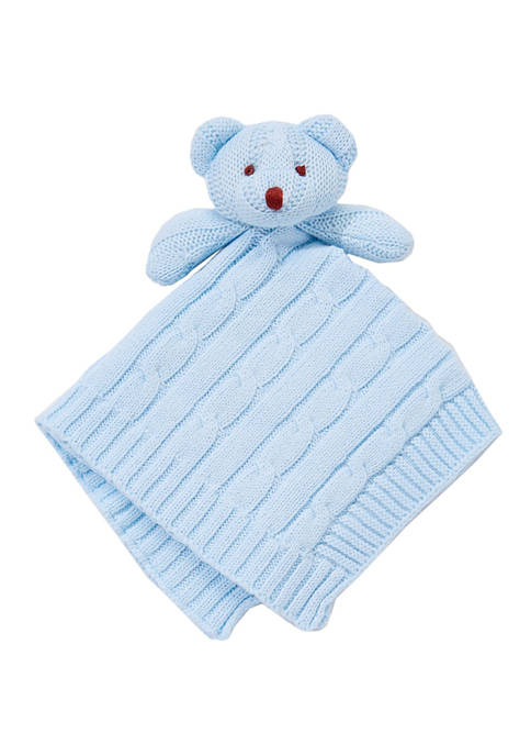 Baby Blue Knit Bear Security Blanket