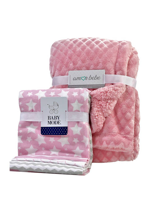3 Stories Trading Baby Girls Pink 5-Piece Blanket