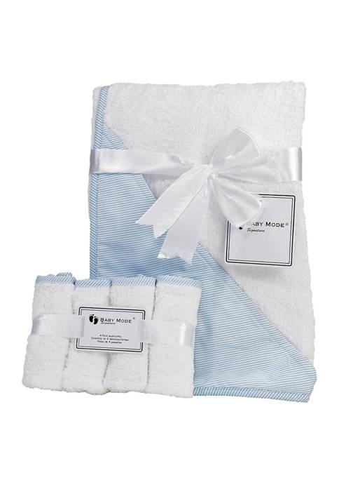 Baby Boys Hooded Bath Towel with Washcloth Bundle