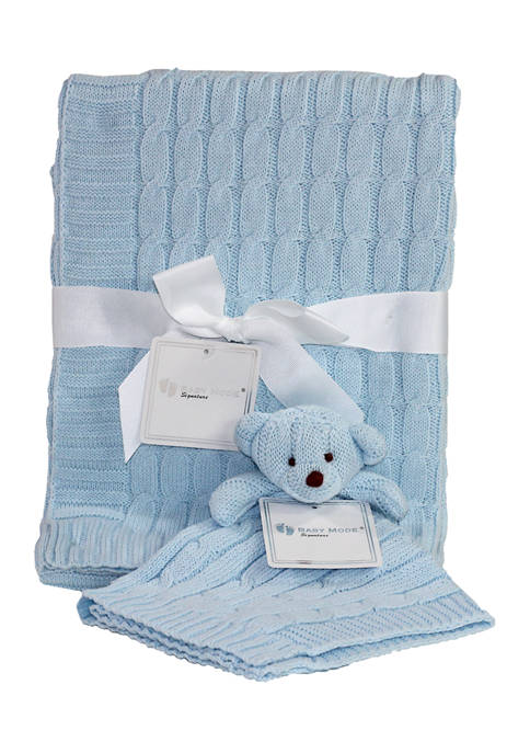 Baby Mode Signature Baby Boys Blue Cable Knit