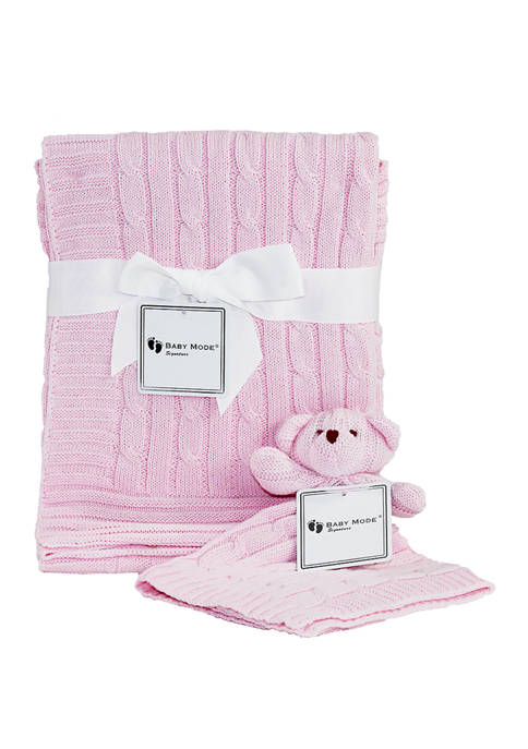 Baby Girls Pink Cable Knit Blanket Gift Set