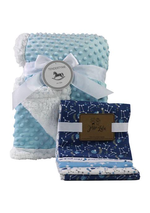 Baby Boys 5 Piece Popcorn Sherpa Galaxy Blanket Gift Set