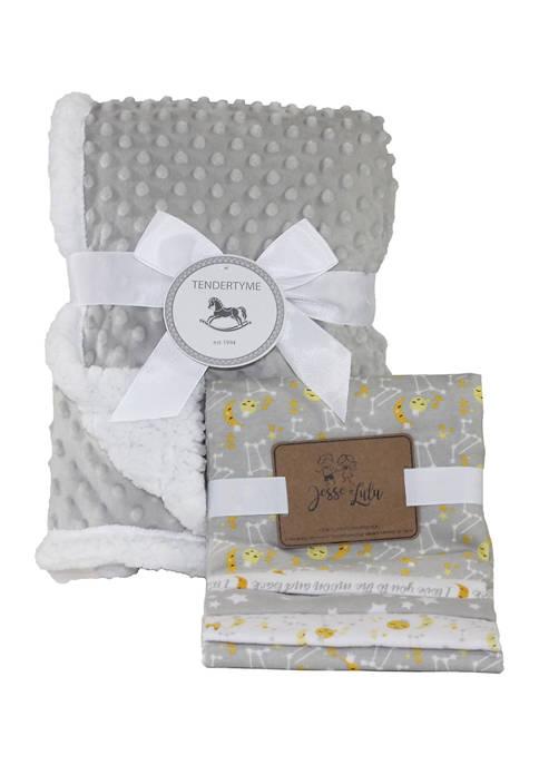 Baby 5 Piece Popcorn Sherpa Galaxy Blanket Gift Set