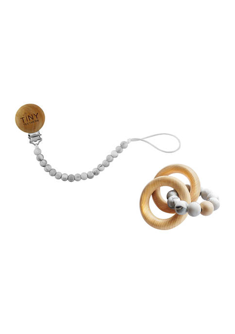 Baby Silicone and Beech Rattle and Pacifier Clip Set