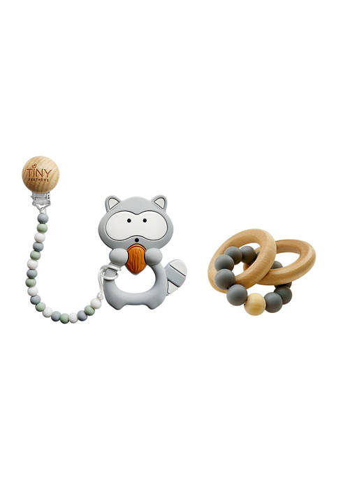 Baby Silicone and Beech Rattle and Teether Set