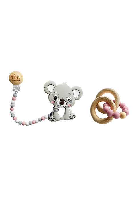 Baby Girls Silicone and Beech Rattle and Teether Set