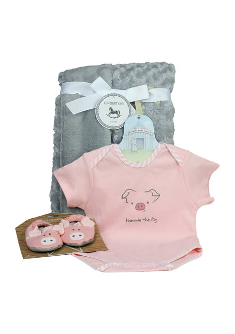 3 Stories Trading Baby Girls Piggy Bodysuit and