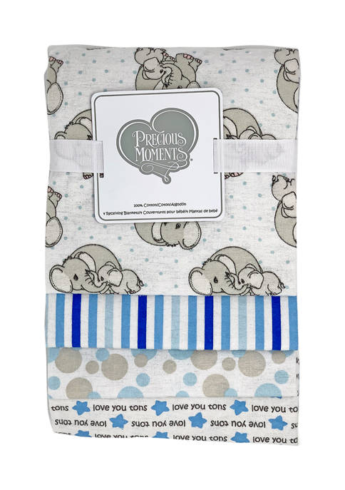 Baby Boys Appliqued Set of 4 Receiving Blankets