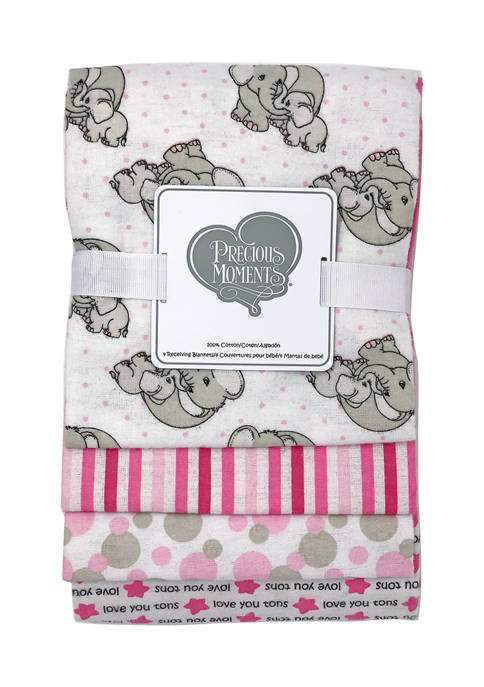 Baby Girls Appliqued Set of 4 Receiving Blankets