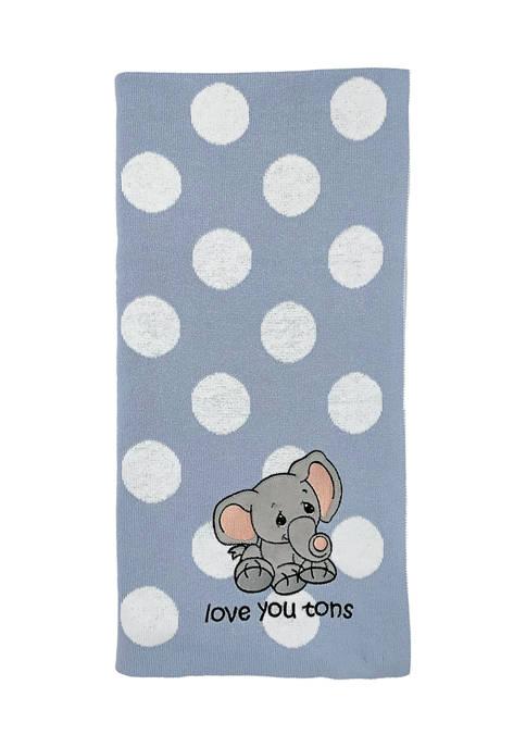 Precious Moments Baby Boys Knit Jacquard Elephant Blanket