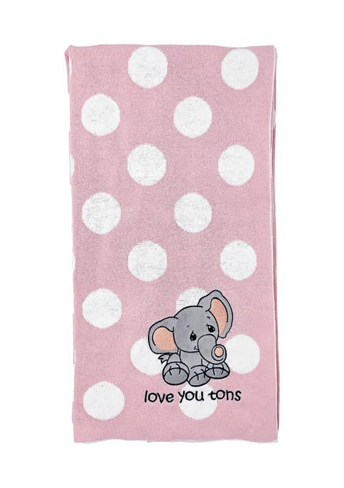 Baby Girls Knit Jacquard Elephant Blanket