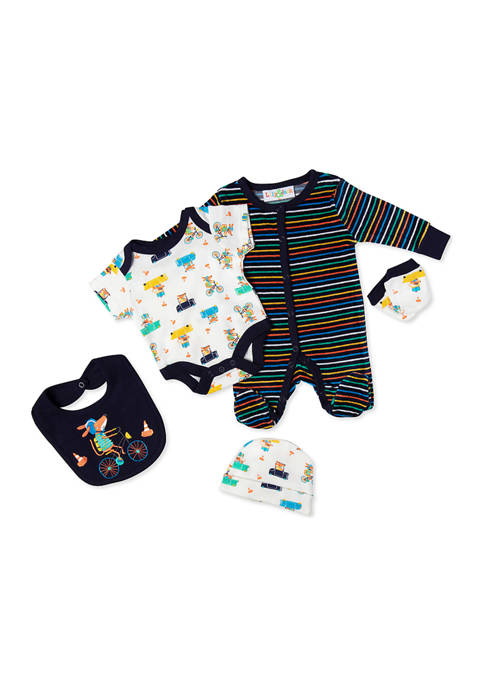 Baby Boys Animals in Cars 5 Piece Layette Set