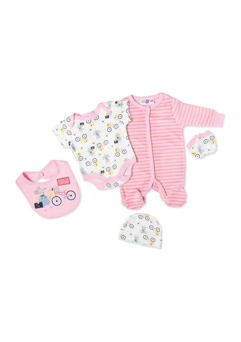 Baby Girls Mouse Velour 5 Piece Layette Set