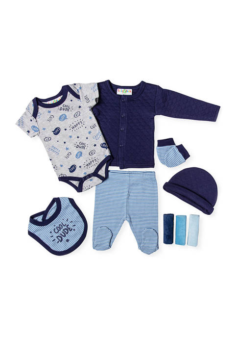 Baby Boys Quilted Cool Dude 9 Piece Layette Set