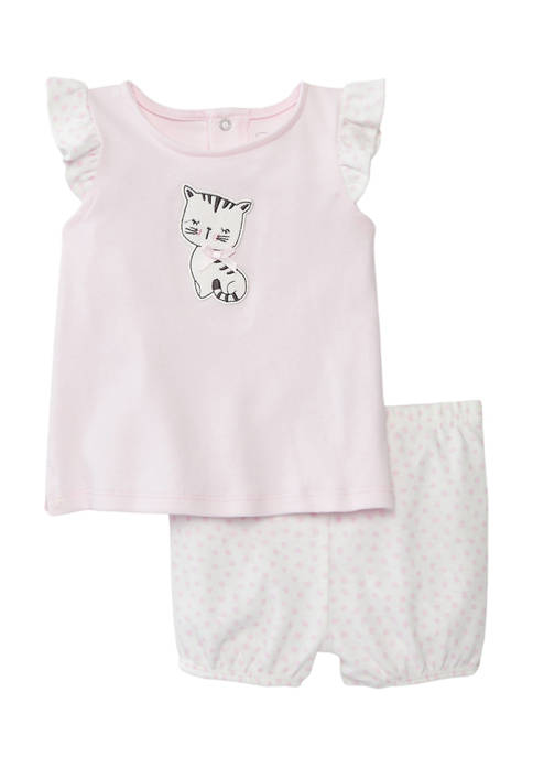 Baby Girls 2 Piece Assorted Kitty Graphic Set
