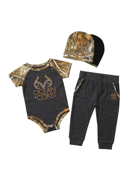 Realtree® Baby Boys Bodysuit, Pants, and Beanie