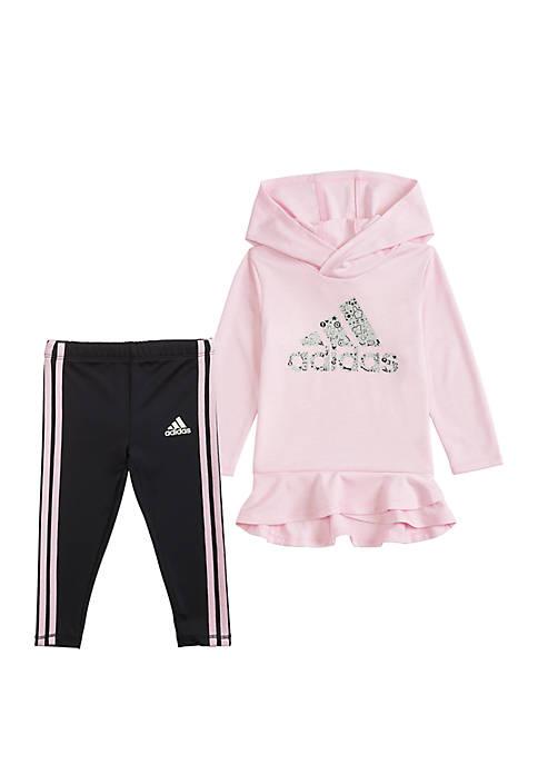 adidas Toddler Girls 2 Piece Long Sleeve Hoodie