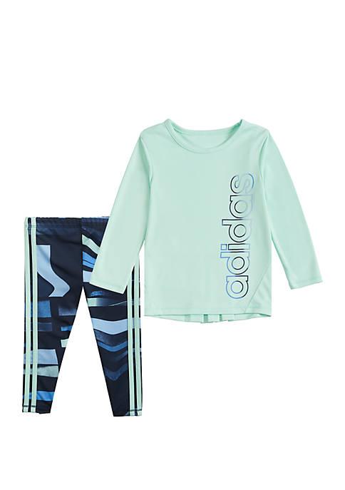 adidas Toddler Girls Top and Printed Tight Set