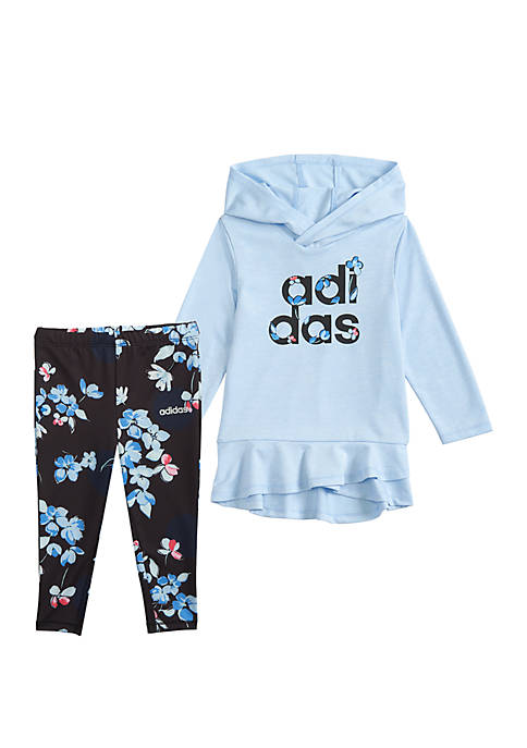 adidas Toddler Girls Hoodie and Printed Tight Set