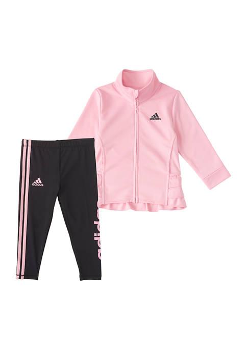 adidas Toddler Girls Ruffle Tricot Jacket Set