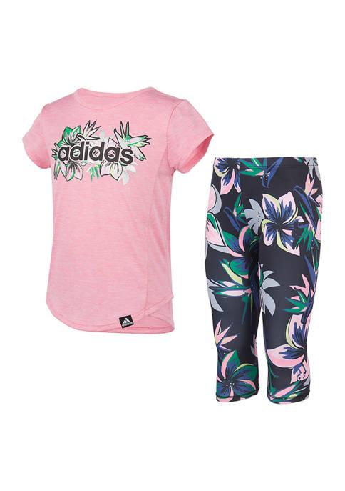 adidas Toddler Girls Floral Capri Tights Set