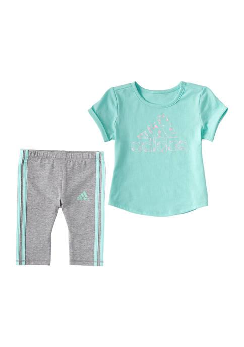 adidas Toddler Girls 3 Stripe Capri Tights Set