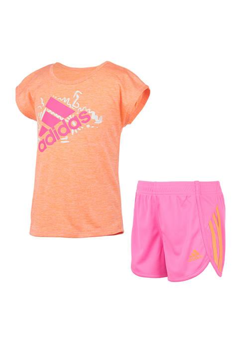 adidas Toddler Girls Sport T-Shirt and Mesh Shorts