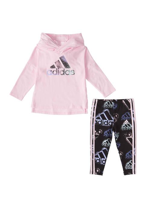 adidas Baby Girls 2 Piece Logo Graphic Hoodie
