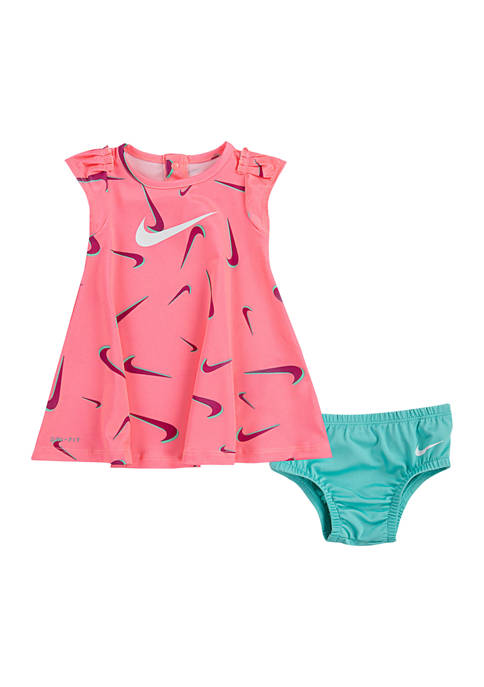 Baby Girls 3D Swoosh Printed Dress