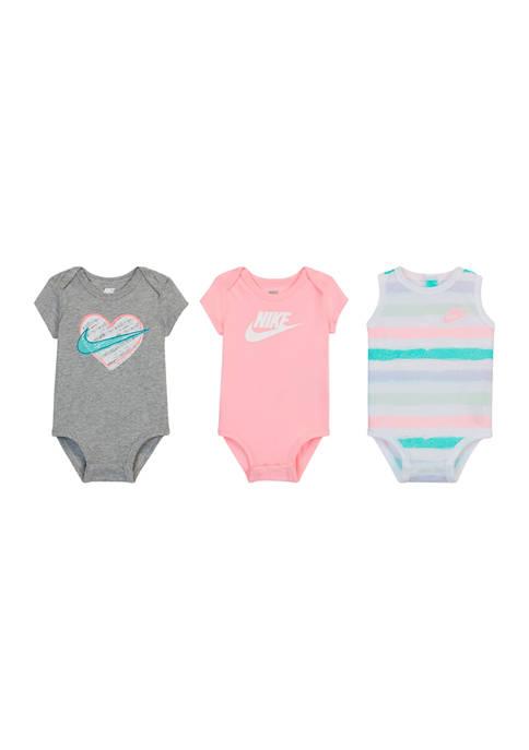 Baby Girls Set of 3 Bodysuits