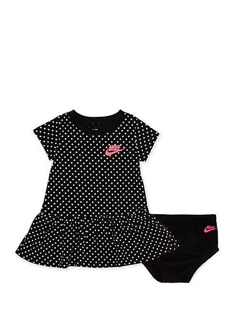 Nike® Baby Girls Polka Dot Short Sleeve Ruffle