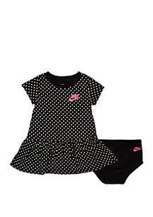 Nike® Baby Girls Polka Dot Short Sleeve Ruffle Peplum Dress with Diaper Cover