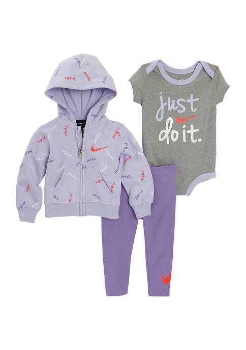 Nike® Baby Girls Full Zip French Terry 3-Piece