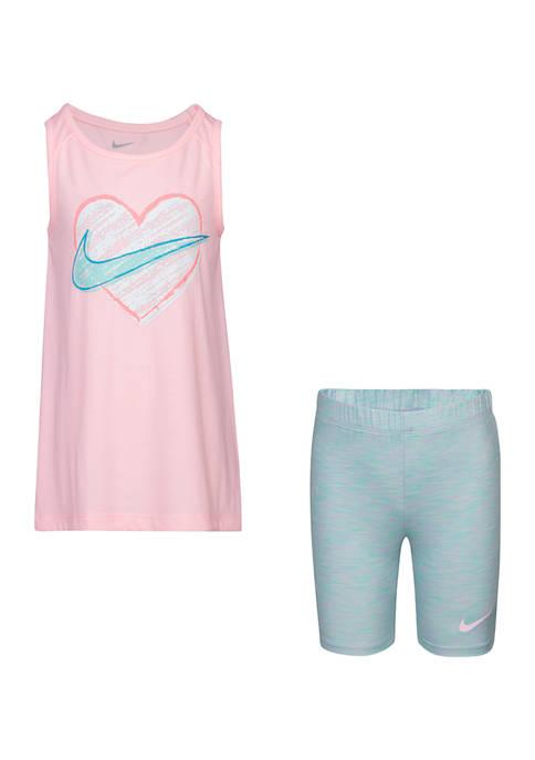 Nike® Baby Girls Heart Tank and Biker Shorts