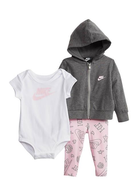 Baby Girls 3-Piece Bodysuit and Hoodie Set