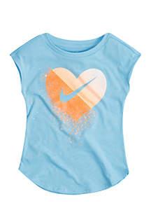Toddler Girls Glitter Heart Short Sleeve Modern Tee