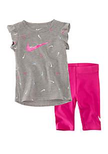 Nike® Toddler Girls Swooshfetti Tunic and Capri Set