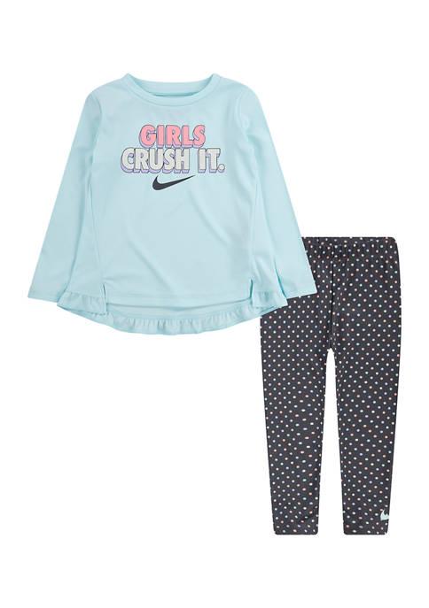 Toddler Girls 2-Piece Tunic Top and Dot Leggings Set