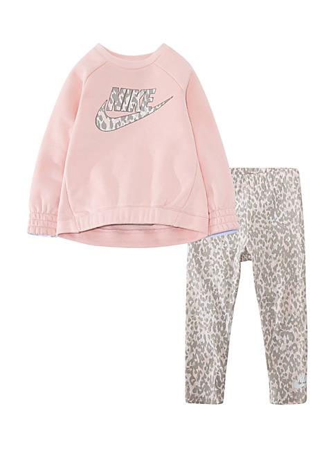 Toddler Girls Cheetah Crew Tunic and Pants Set