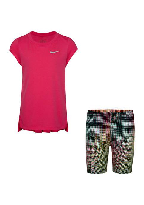 Toddler Girls Pixel Biker Shorts and T-Shirt Set