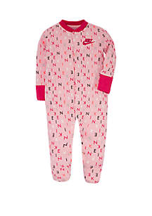 Baby Boys Logo Print Footed Coveralls