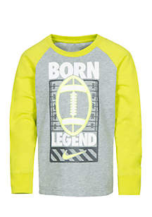 Nike® Toddler Boys Long Sleeve Raglan Sports Verbiage Tee