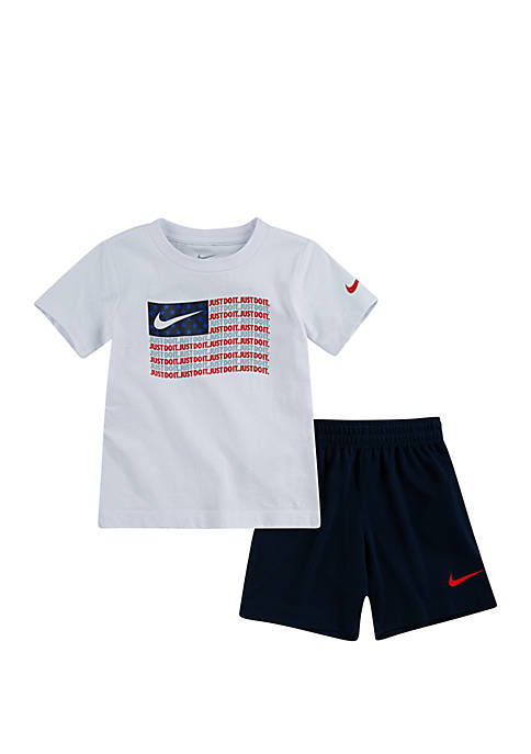 Toddler Boys Cotton JDI Stripe Americana Short Sleeve Tee & Short Set