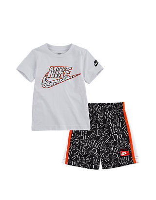 "Nike Boys 2 Piece Outfit Grey// Black  Short Set /""JUST DO IT/""  Size 2T"