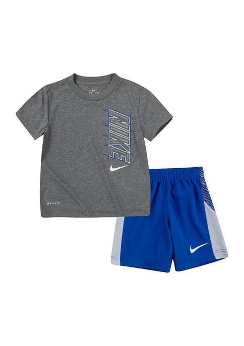 Toddler Boys Block T-Shirt and Shorts Set