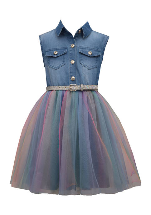 Bonnie Jean Girls 4-6x Denim and Tulle Dress