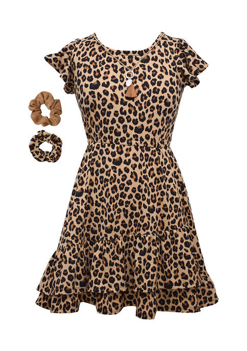 Bonnie Jean Girls 4-6x Flutter Sleeve Animal Print